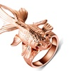Rose Gold-color Red Crystal Eyes Movable Fin Fish Rings