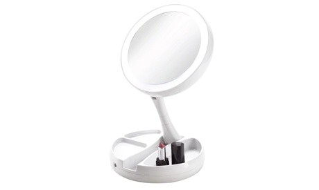 Vivitar Fold Away LED Double-Sided Makeup Vanity Mirror With 10x Magnification