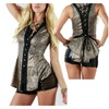 Brown Leopard Printed Leatherette Long Corset Back Collared Sleeveless