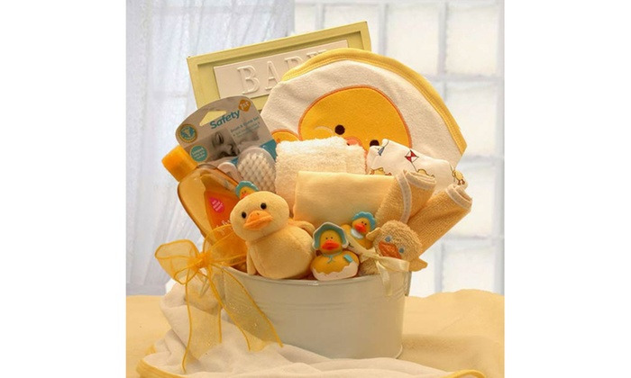 Gift Basket Dropshipping Bath Time Baby New Baby Basket-Medium Yellow  sc 1 st  Groupon & Gift Basket Dropshipping Bath Time Baby New Baby Basket-Medium ...