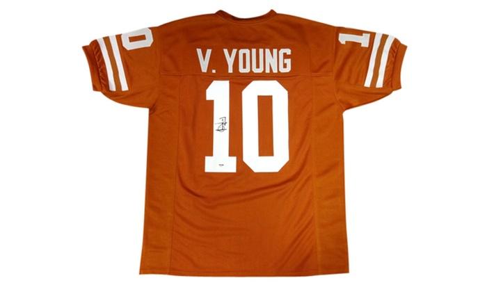 reputable site 26678 e0886 Autographed Vince Young Texas Longhorns Custom Jersey Orange 94317