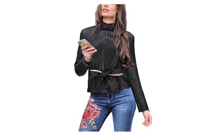 Women's Slim Tailoring Faux Leather PU Short Jacket Coats faab235a-1fe1-410c-ab5d-491572491a24