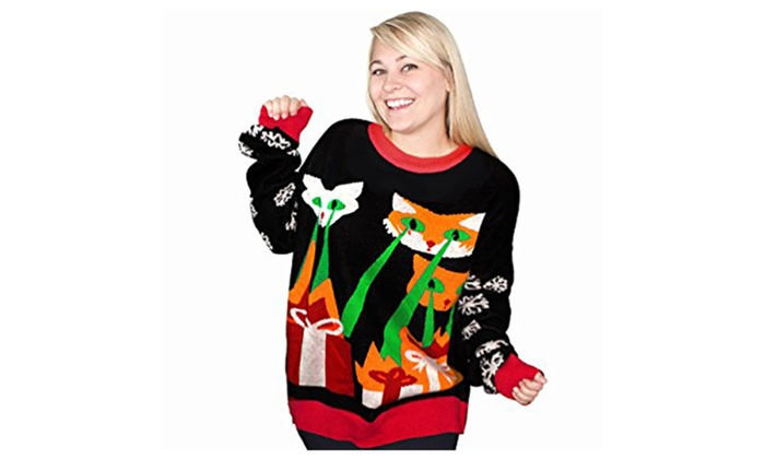 04335df90367f Laser Cat-Zillas Ugly Christmas Sweater | Groupon