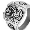 Men's Stainless Steel V2 Engine Biker Cast Ring