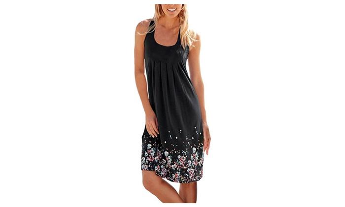 Women Print Pleated Sundress A-line Mini Beach Dress