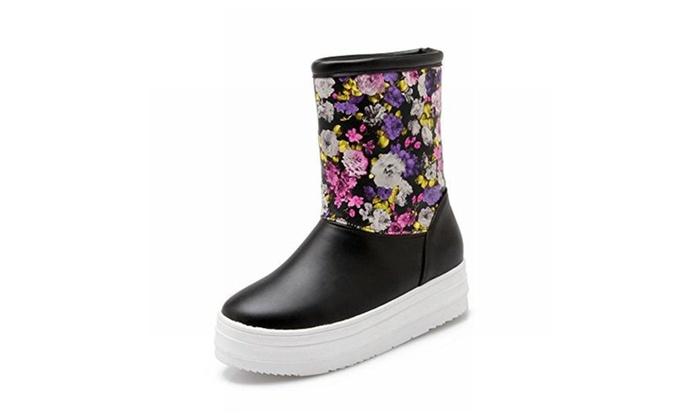 Women's Floral Print Fashion Cute Comfort Platform Snow Boots