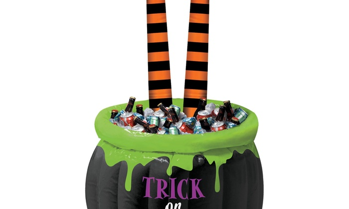 halloween witch leg inflatable cooler
