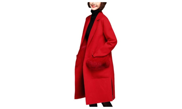 Women's Fashion Slim Fit Solid Simple Long Sleeve Wool Coat