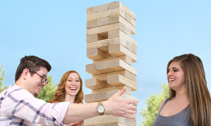 Up To 62 Off On Giant Wooden Block Stacking Game Groupon Goods
