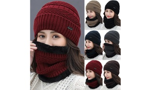 Women Winter Velvet Warm Thick Knitted Leisure Beanies Hat And Scarf Set