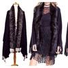 Faux Fur Trim Sweater Shawl with Fringe Hems