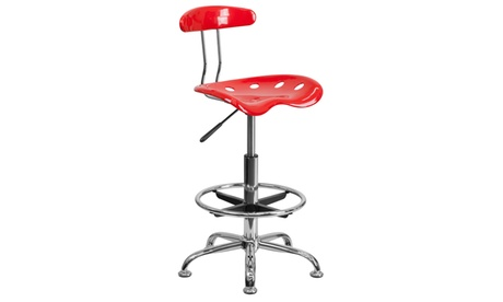 Vibrant Chrome Drafting Stool with Tractor Seat c69e88a2-c447-4aec-84ce-5692768f0a4c