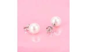 4.00 CTTW Sterling Silver Genuine Cultured Pearl Earring Set