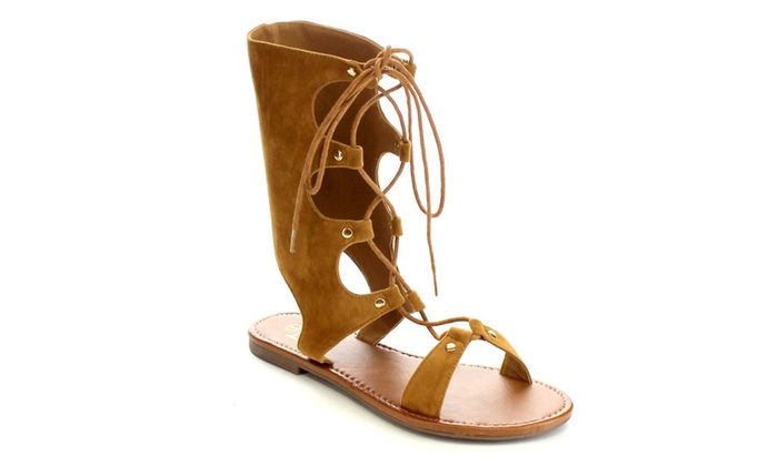 Beston FA56 Women's Lace Up Boots Style Cut Out Gladiator Flat Sandals