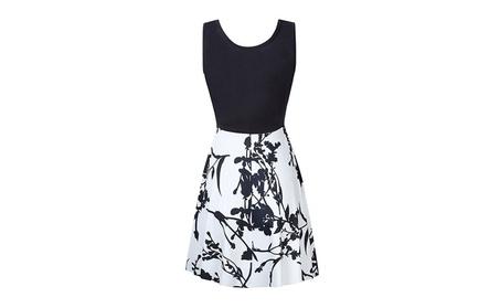 Women Vintage Scoop Sleeveless Sexy Slim and Flare Swing Dress 2288c90f-c6dc-476b-a3a6-2fc6de48cf4e