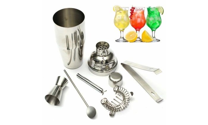 Bartender Stainless Steel Bar Set Cocktail Mixer Shaker Martini Tools Drink Kit