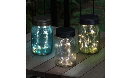 Exhart 3 Piece Solar Glass Firefly Light Jar Set, 5.5 Inch