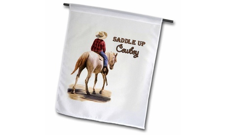 Garden Flag Saddle Up Cowboy Western Theme Painting - 12 by 18-inches