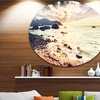 Summer Seascape with Scenic View' Seashore Metal Circle Wall Art
