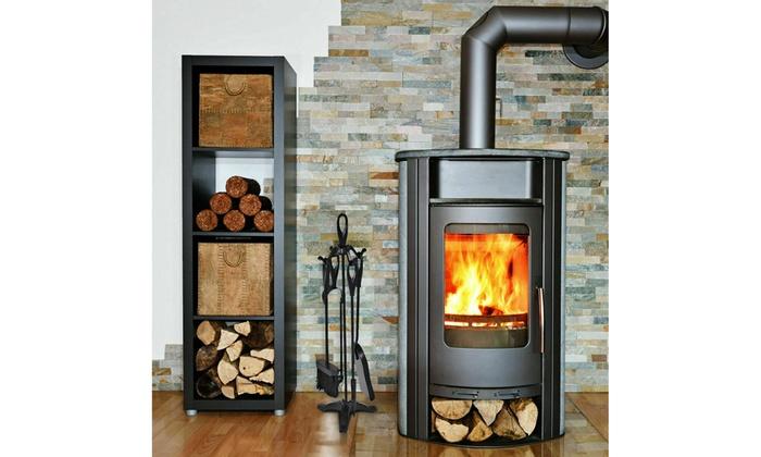 5 Piece Fire Companion Set Iron Fireplace Fireside Tools Brush Black