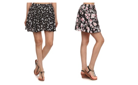 Women's Floral Print Flared A-Line Pleated Short Skirt