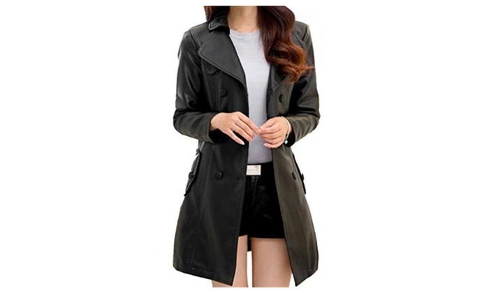 Helan Women's Double Breasted PU Leather Coat Black US 8/10 - Black / 8/10
