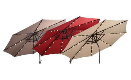 10FT Patio Solar Umbrella LED Patio Market Steel Tilt W/ Crank Outdoor d14c4d7d-138a-4d76-9860-03c9bba53218