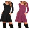 Women's Pockets Casual Swing T-shirt Dresses
