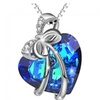 Sterling Silver Blue Heart of Ocean Blue Crystal Pendant Necklace