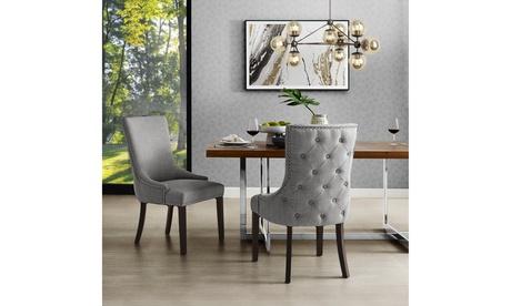 Harvey Leather/Velvet/Linen Dining Chair Back Tufted Nailhead Trim - Set of 2