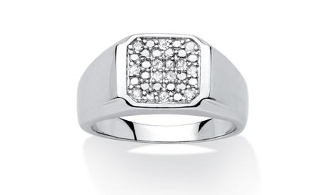 Men's .20 TCW Diamond Platinum over Silver Ring b8e8ee20-8735-4761-a26d-bc5e2aba1685