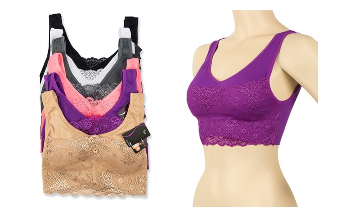 Ladies Seamless Laced Sports Bra 6-Piece Color Variety Set  e43375217