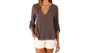 V-Neck Button Back Dip Back Long Sleeve Blouse Top Chiffon Shirts