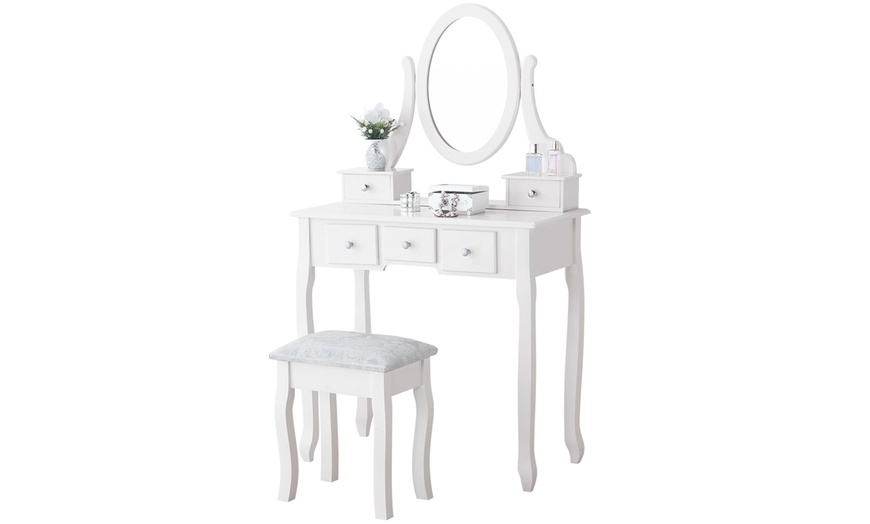 Off On 5 Drawers Vanity Set Wood Mak, Rotation Removable Mirror Dressing Vanity Table Makeup Desk With Stool White