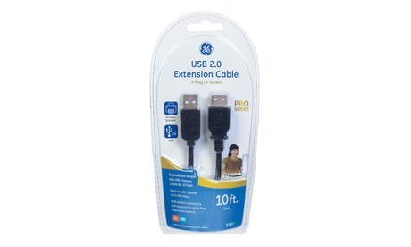 GE 3389954 10 ft. USB 2.0 Extension Cable Black photo
