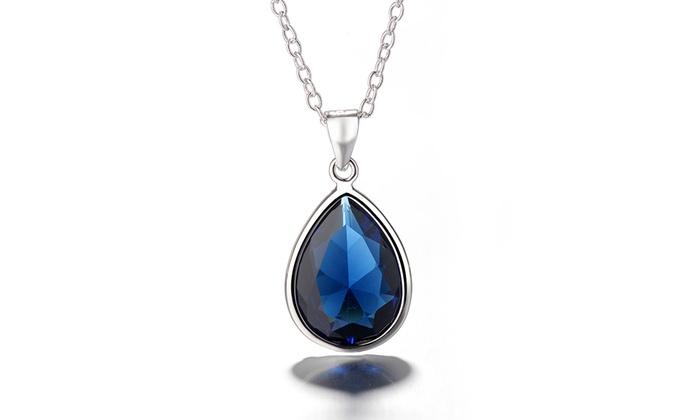 3f9703ed6735d Sterling Silver Tear Drop Sapphire Pendant Necklace