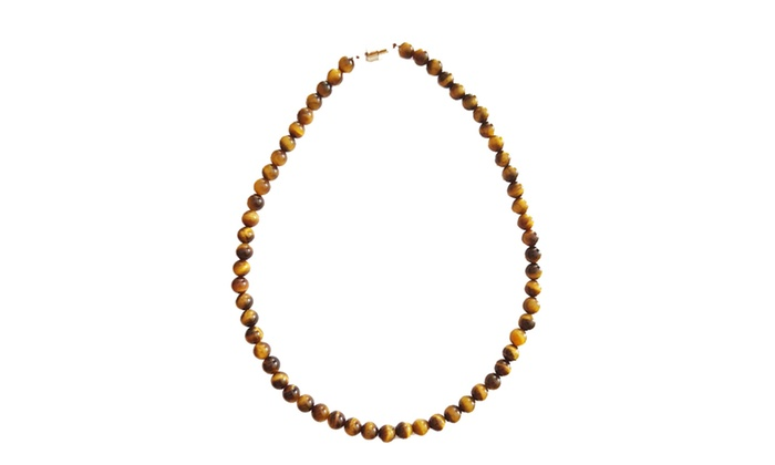 ae532cc7e Sterling Silver 8mm Tiger Eye Bead Necklace | Groupon