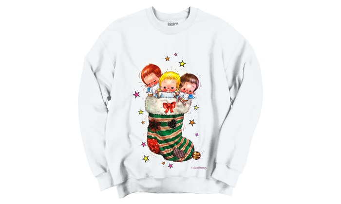 Cute Cheerful Angels In Christmas Stocking Crewneck Sweatshirt