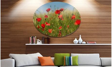 Wild Poppy Flowers in Green Garden' Disc Floral Metal Circle Wall Art bd6a1acc-a3d9-4cba-98dd-fcbc7e923fc8