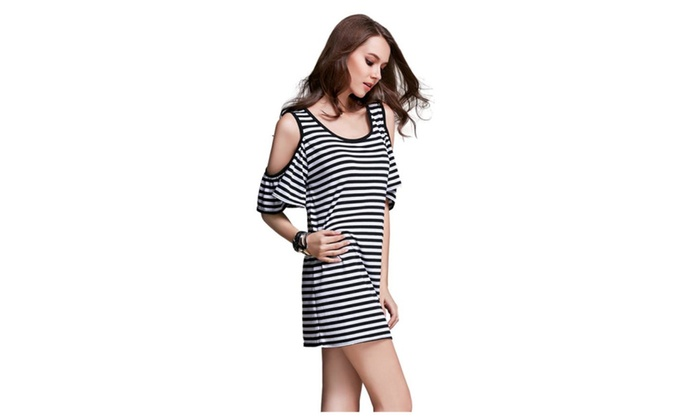 Ladies Half Sleeve Strapless Stripe Stretch Dresses