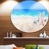 Seashells on Seashore' Beach Photography Circle Metal Wall Art