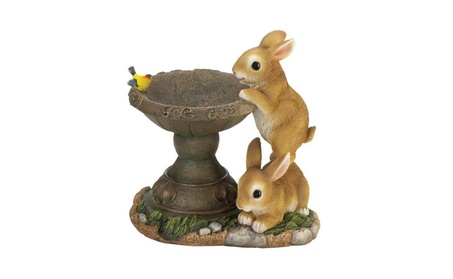 Playful Bunny Buddies Bird Seed Feeder Garden Statue 10.5