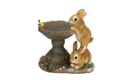 Playful Bunny Buddies Bird Seed Feeder Garden Statue 10.5