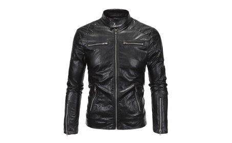 Men High quality stand-up motorcycle leather jacket PU jacket 37e14227-9488-4746-83b0-4257859e4ceb