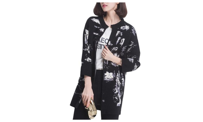 Women's Straight Hem Open Front Graphic Casual Cardigan