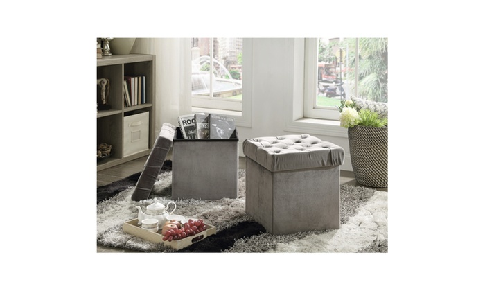 Foldable Storage Ottoman Set (2 Pack) ...
