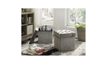 Foldable Storage Ottoman Set (2-Pack)