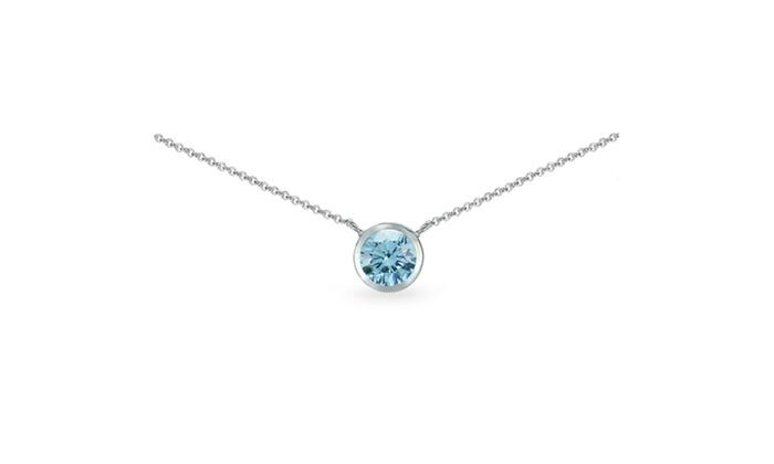 8edf48554 925 Silver Light Blue Round Bezel-Set Choker Necklace Made w/ Swarovski  Crystal