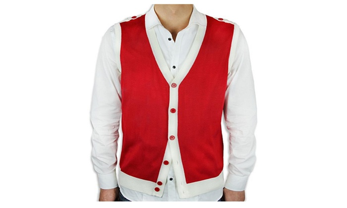 Two tone button down sweater vest | Groupon