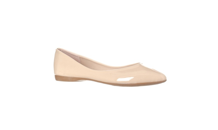 Riverberry 'Ella' Pointed Toe Ballet Flat Slip On, Nude Patent